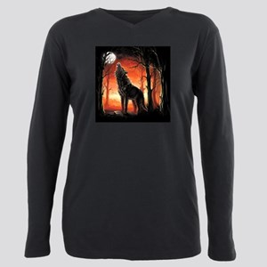 Howling Wolf Plus Size Long Sleeve Tee