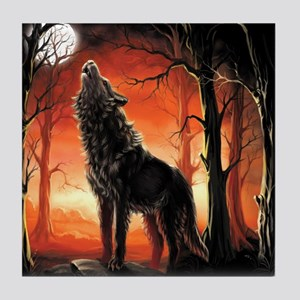 Howling Wolf Tile Coaster