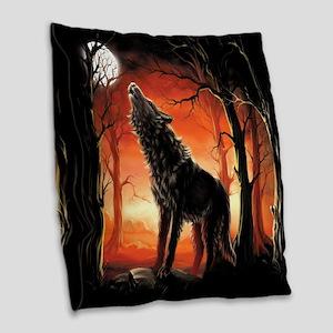Howling Wolf Burlap Throw Pillow