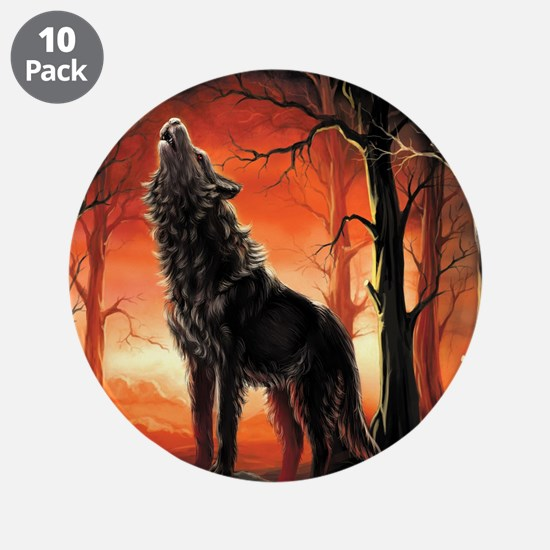 "Howling Wolf 3.5"" Button (10 pack)"