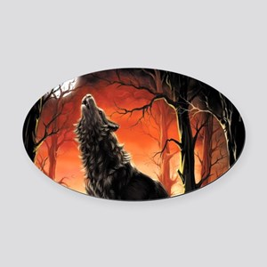 Howling Wolf Oval Car Magnet