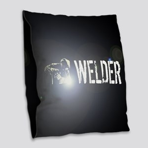Welding: Stick Welder Burlap Throw Pillow