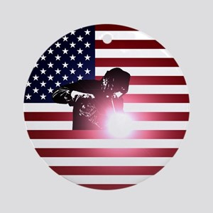 Welding: Welder & American Flag Round Ornament