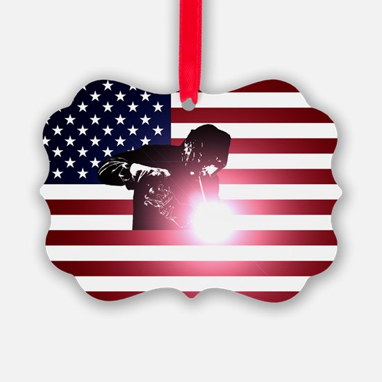Welding: Welder & American Flag Ornament