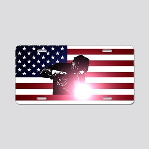 Welding: Welder & American Flag Aluminum License P