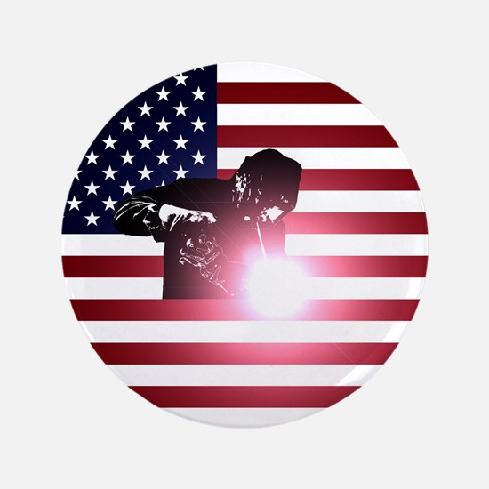 "Welding: Welder & American Flag 3.5"" Button (100 p"