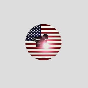 Welding: Welder & American Flag Mini Button