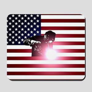 Welding: Welder & American Flag Mousepad