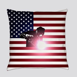 Welding: Welder & American Flag Everyday Pillow