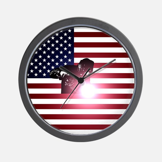 Welding: Welder & American Flag Wall Clock