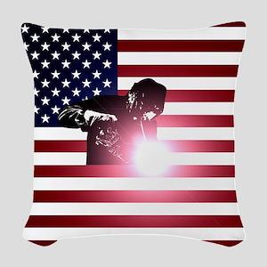 Welding: Welder & American Flag Woven Throw Pillow