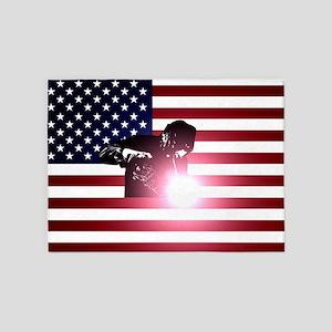 Welding: Welder & American Flag 5'x7'Area Rug