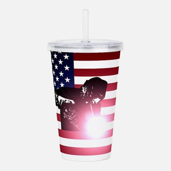 Welding: Welder & American Flag Acrylic Double-wal