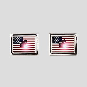 Welding: Welder & American Flag Rectangular Cuffli