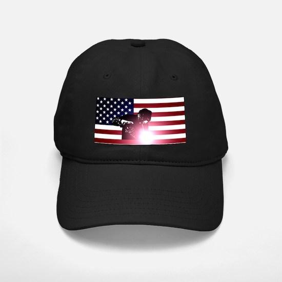 Welding: Welder & American Flag Baseball Hat