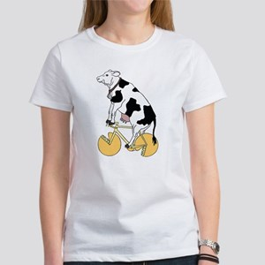 Cow Riding Bike With Cheese Wheel Wheels T-Shirt