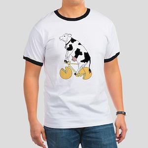 Cow Riding Bike With Cheese Wheel Wheels T-Shirt