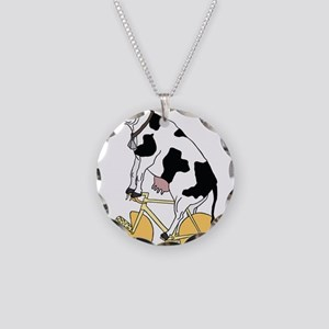 Cow Riding Bike With Cheese Necklace Circle Charm