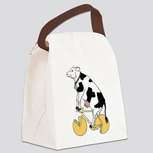 Cow Riding Bike With Cheese Wheel Canvas Lunch Bag