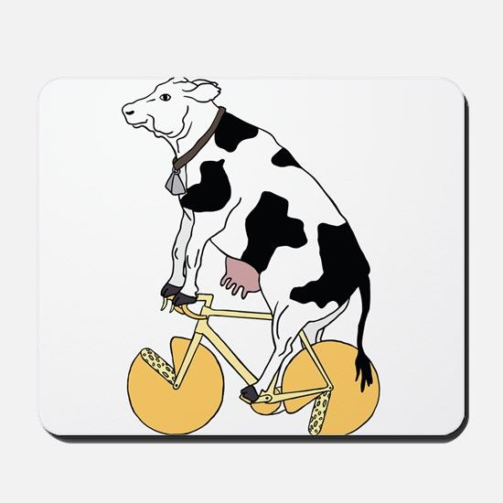 Cow Riding Bike With Cheese Wheel Wheels Mousepad