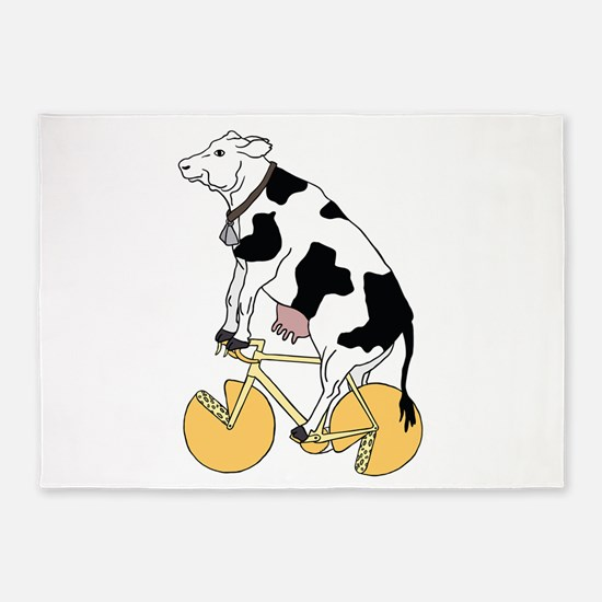 Cow Riding Bike With Cheese Wheel W 5'x7'Area Rug