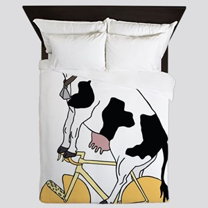 Cow Riding Bike With Cheese Wheel Whee Queen Duvet