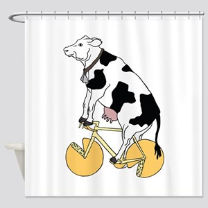 Cow Riding Bike With Cheese Wheel W Shower Curtain
