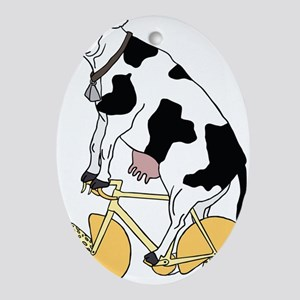 Cow Riding Bike With Cheese Wheel Wh Oval Ornament