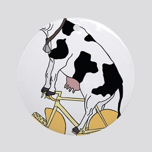 Cow Riding Bike With Cheese Wheel W Round Ornament