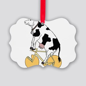 Cow Riding Bike With Cheese Wheel Picture Ornament