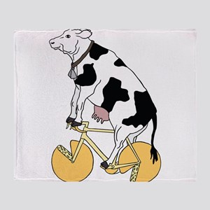 Cow Riding Bike With Cheese Wheel Wh Throw Blanket