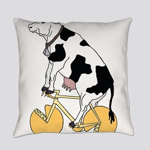 Cow Riding Bike With Cheese Wheel Everyday Pillow