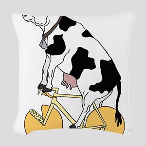 Cow Riding Bike With Cheese Wh Woven Throw Pillow