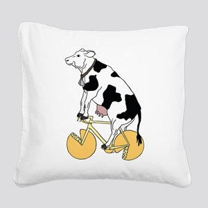 Cow Riding Bike With Cheese W Square Canvas Pillow