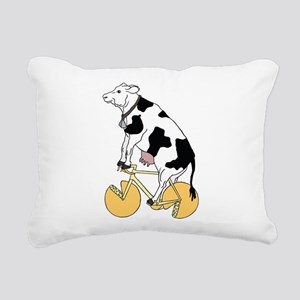 Cow Riding Bike With Che Rectangular Canvas Pillow