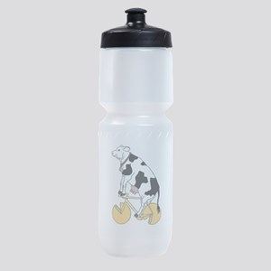 Cow Riding Bike With Cheese Wheel Wh Sports Bottle
