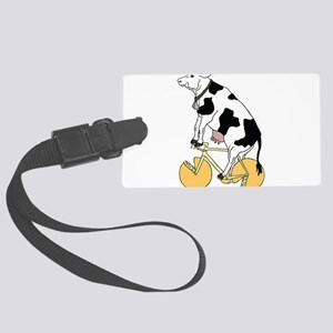 Cow Riding Bike With Cheese Whee Large Luggage Tag