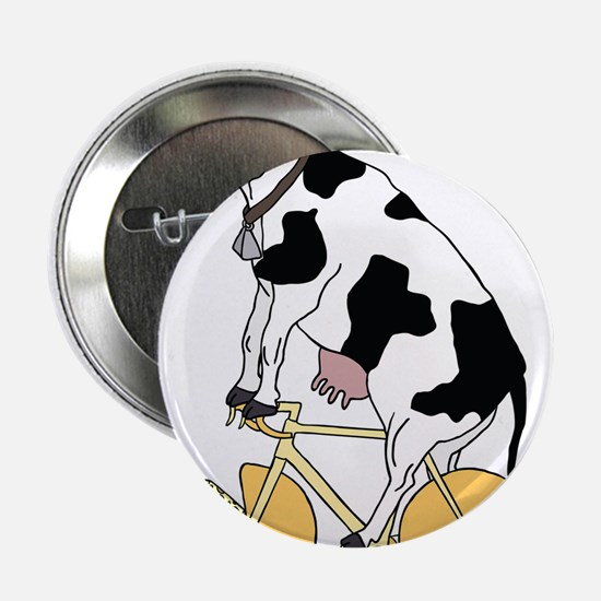 """Cow Riding Bike With Cheese Wheel Whe 2.25"""" Button"""