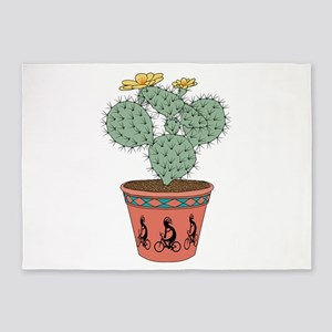 Pear Cactus Bike In Pot With Kokope 5'x7'Area Rug