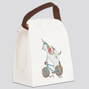 Cat Unicorn Riding Unicorn Cat Wh Canvas Lunch Bag