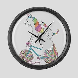 Cat Unicorn Riding Unicorn Cat Wh Large Wall Clock