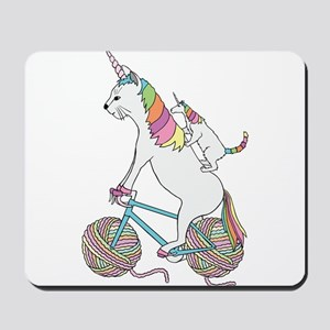 Cat Unicorn Riding Unicorn Cat Who's Rid Mousepad