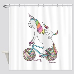 Cat Unicorn Riding Unicorn Cat Who' Shower Curtain