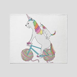 Cat Unicorn Riding Unicorn Cat Who's Throw Blanket