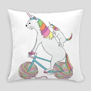 Cat Unicorn Riding Unicorn Cat Who Everyday Pillow