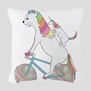 Cat Unicorn Riding Unicorn Cat Woven Throw Pillow