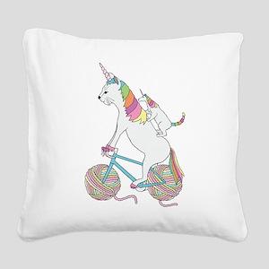 Cat Unicorn Riding Unicorn Ca Square Canvas Pillow