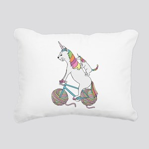 Cat Unicorn Riding Unico Rectangular Canvas Pillow
