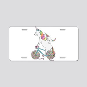 Cat Unicorn Riding Unicorn Aluminum License Plate