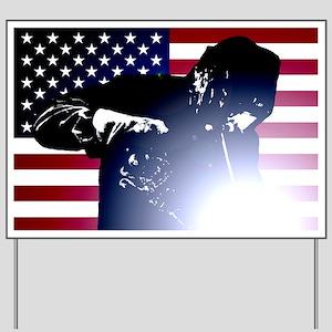 Welding: Welder & American Flag Yard Sign
